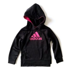 ADIDAS Toddler Girl Black Pink Pullover Hoodie